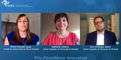 Nathalie Letarte, Jean-Philippe Adam et Marie-Pascale Guay, lauréats du prix d'excellence Innovation 2020
