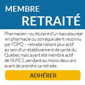 Le membre retraité n'est plus actif au sein d'un établissement de santé du Québec mais a été membre actif de l'A.P.E.S. pendant au moins deux ans avant de prendre sa retraite.